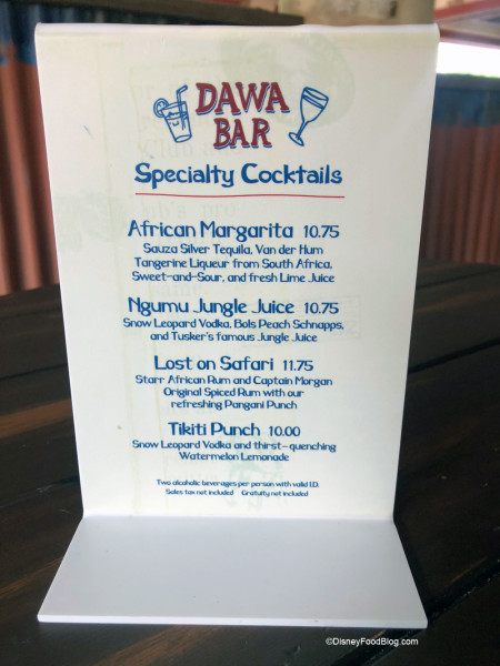 Dawa Bar Specialty Cocktails Menu