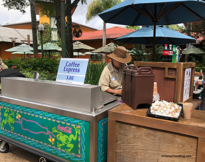 Hot Dog Cart Now Offers Coffee in the morning at Animal Kingdom