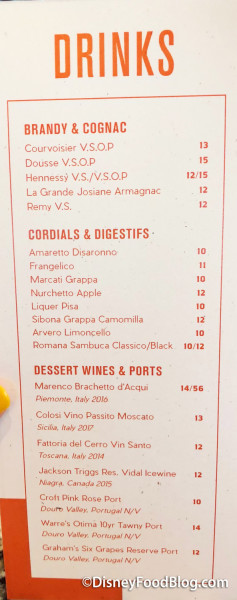 Dessert Drinks Menu
