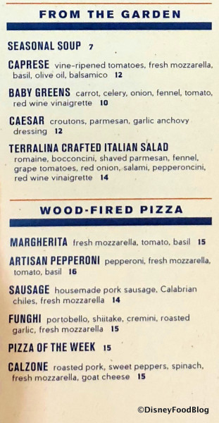 From the Garden and Pizza Menu
