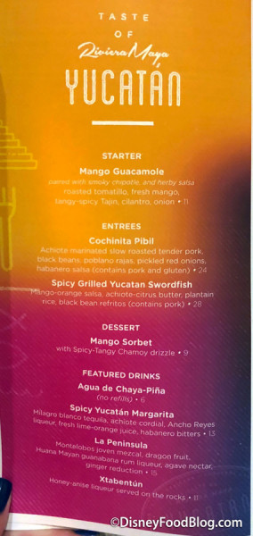 Taste of Yucatan Menu