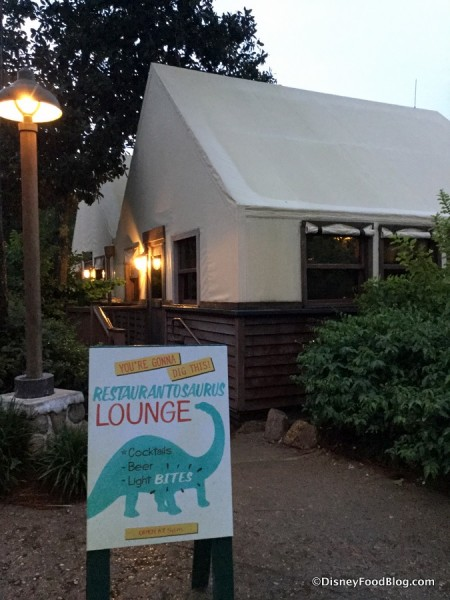 Restaurantosaurus Lounge sign and entrance side