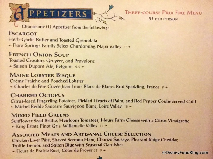 Adult Appetizer Menu
