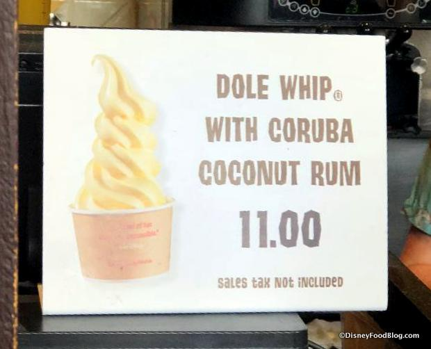 Dole Whip with Rum sign