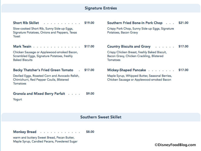 River Belle Terrace Breakfast Menu screenshot