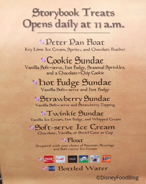Storybook Treats Menu