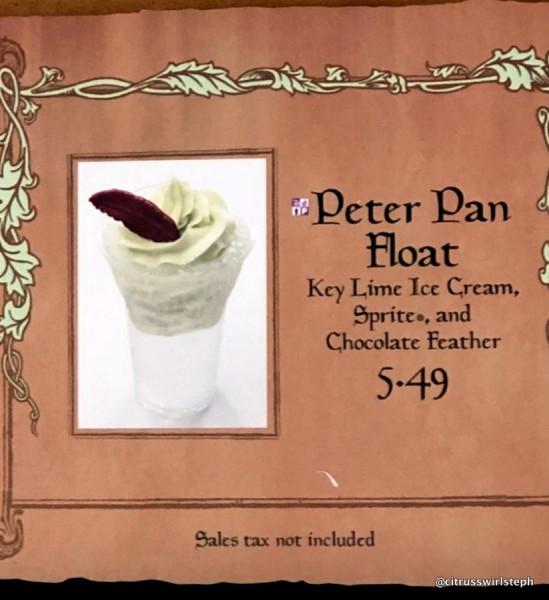 Peter Pan Float on the Menu