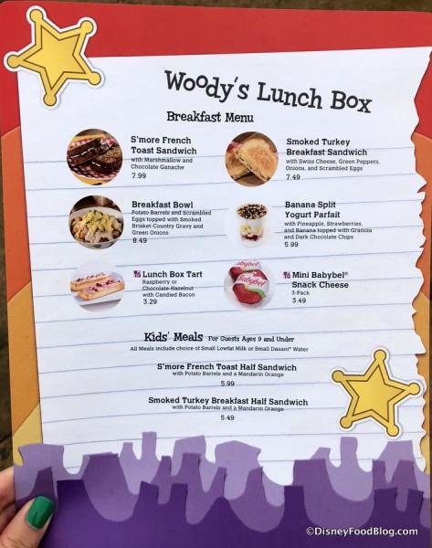 Woody's Lunch Box Breakfast menu
