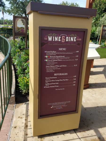 2018 Epcot Food and Wine Festival Wine and Dine Studio Booth Menu