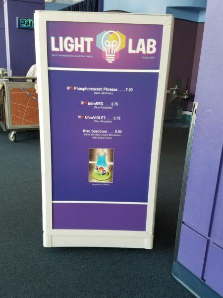 2018 Light Lab Food and Wine Festival Craft Drafts Booth Menu