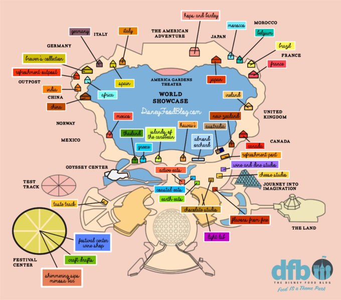 graphic regarding Printable Disney Maps referred to as The Disney Food items Website 2018 Epcot Foodstuff and Wine Competition MAP!