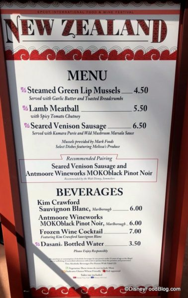 2018 Epcot Food and Wine Festival New Zealand Booth Menu