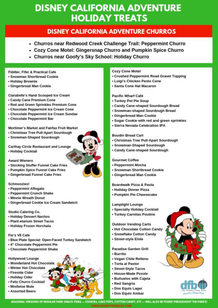 Disney California Adventure Holiday Treats Printable Checklist