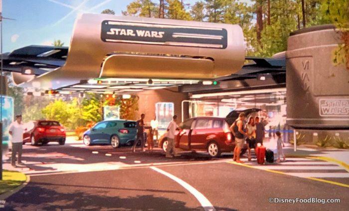 Artwork de l'entrée au voiture de l'hôtel Star Wars.