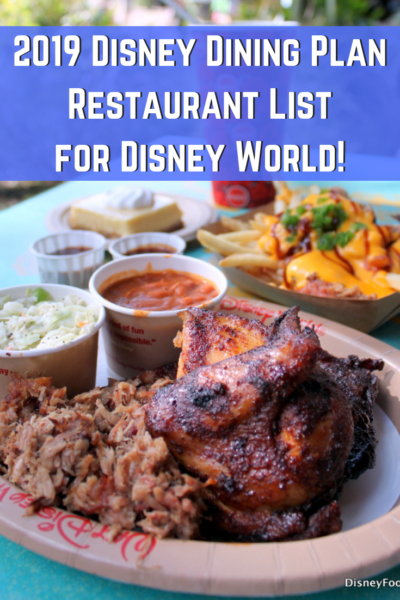 2019 Disney Dining Plan Restaurant List for Disney World