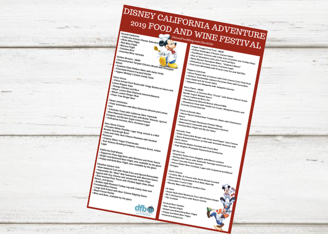 Disney California Adventure 2019 Food and Wine Festival Checklist