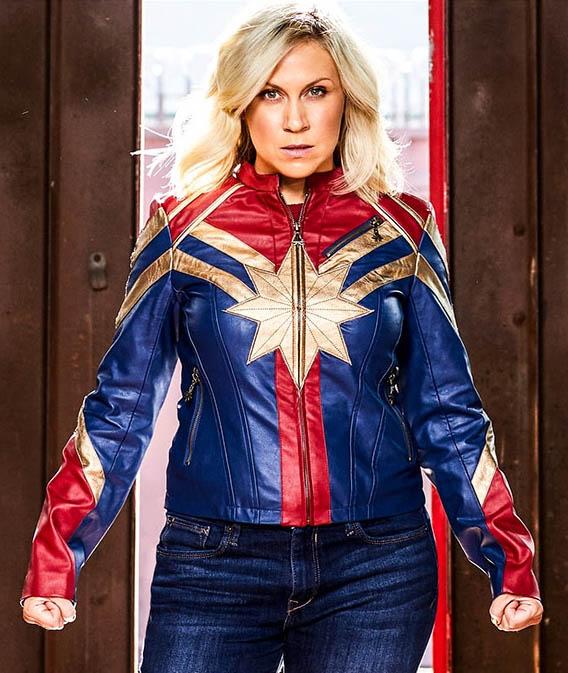 Suzann Captain Marvel Jacket Disney Store Captain marvel costume, cosplay costume #captainmarvel #cosplaycostume #costume. captain marvel jacket fye