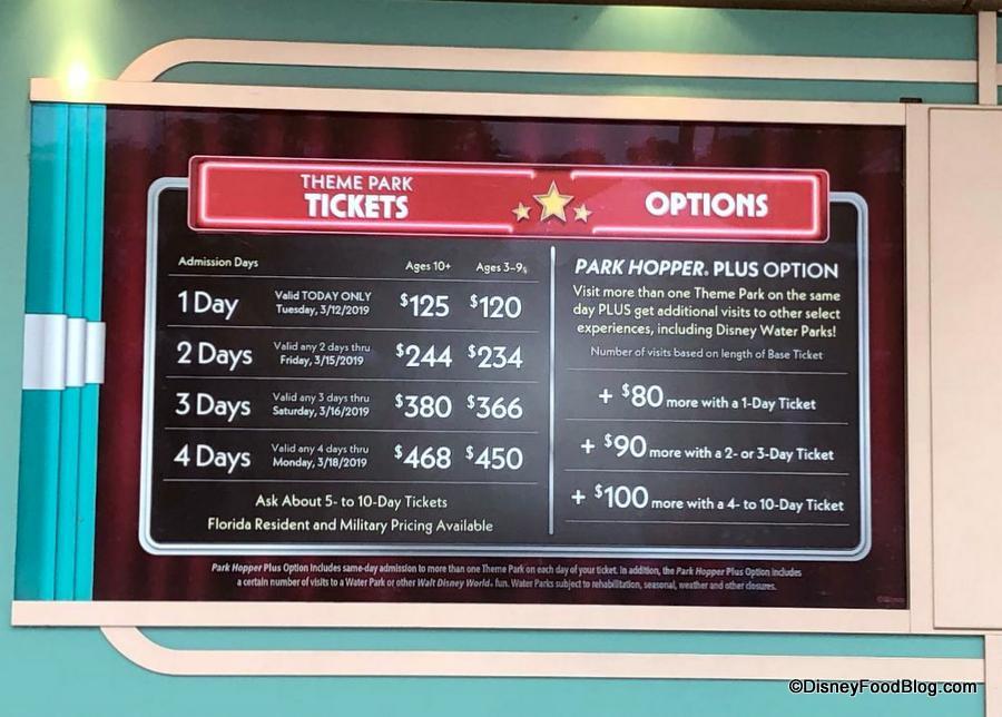 New Walt Disney World Ticket Price Increases The Disney Food Blog