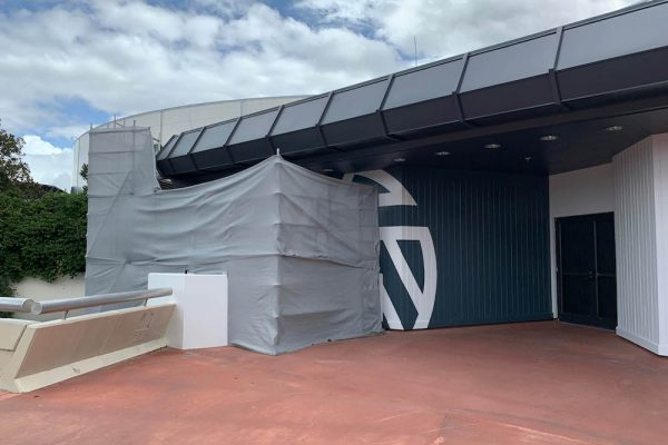 SPOTTED! The Odyssey Pavilion Is Getting A Paint Job For The Epcot Experience in Disney World!