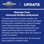 News! Universal Studios in Hollywood and Orlando Closing Temporarily