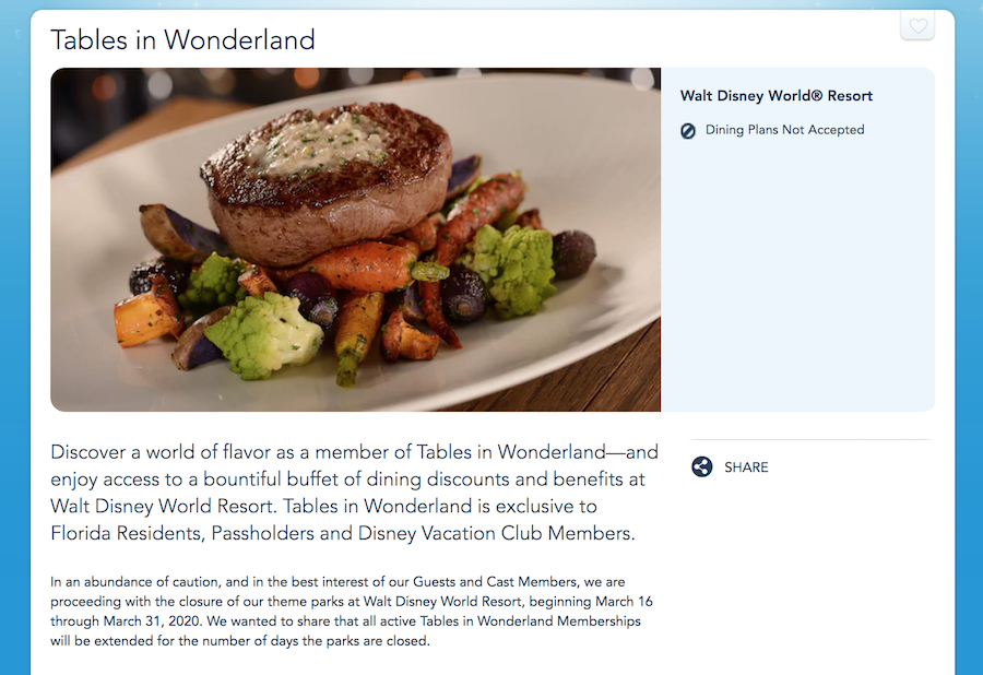 News Tables In Wonderland Memberships Will Be Extended Due To Disney World Park Closures The Food Blog