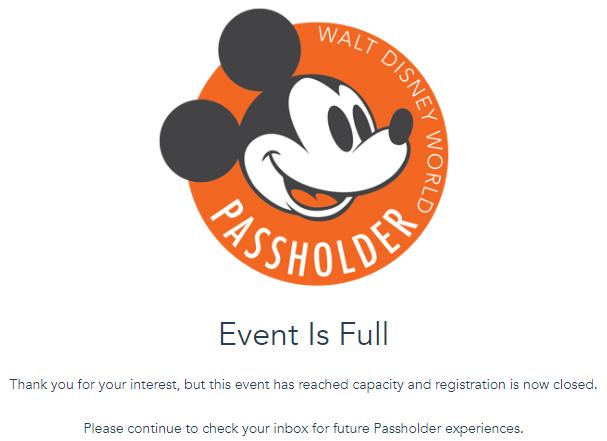 NEWS! Disney World's Annual Passholder Previews Are Already FULL!