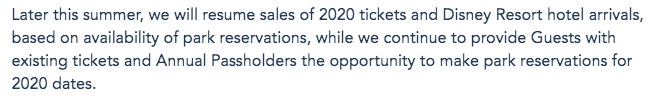 So WHY Can't I Buy Disney World Park Tickets For 2020 Right Now??