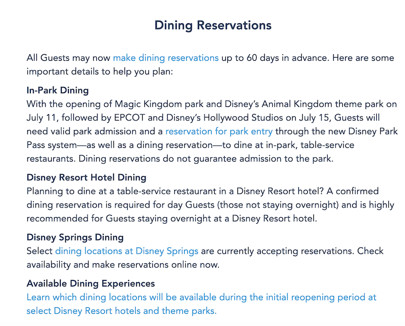 News Advance Dining Reservations Now Open To All Disney World Guests The Disney Food Blog