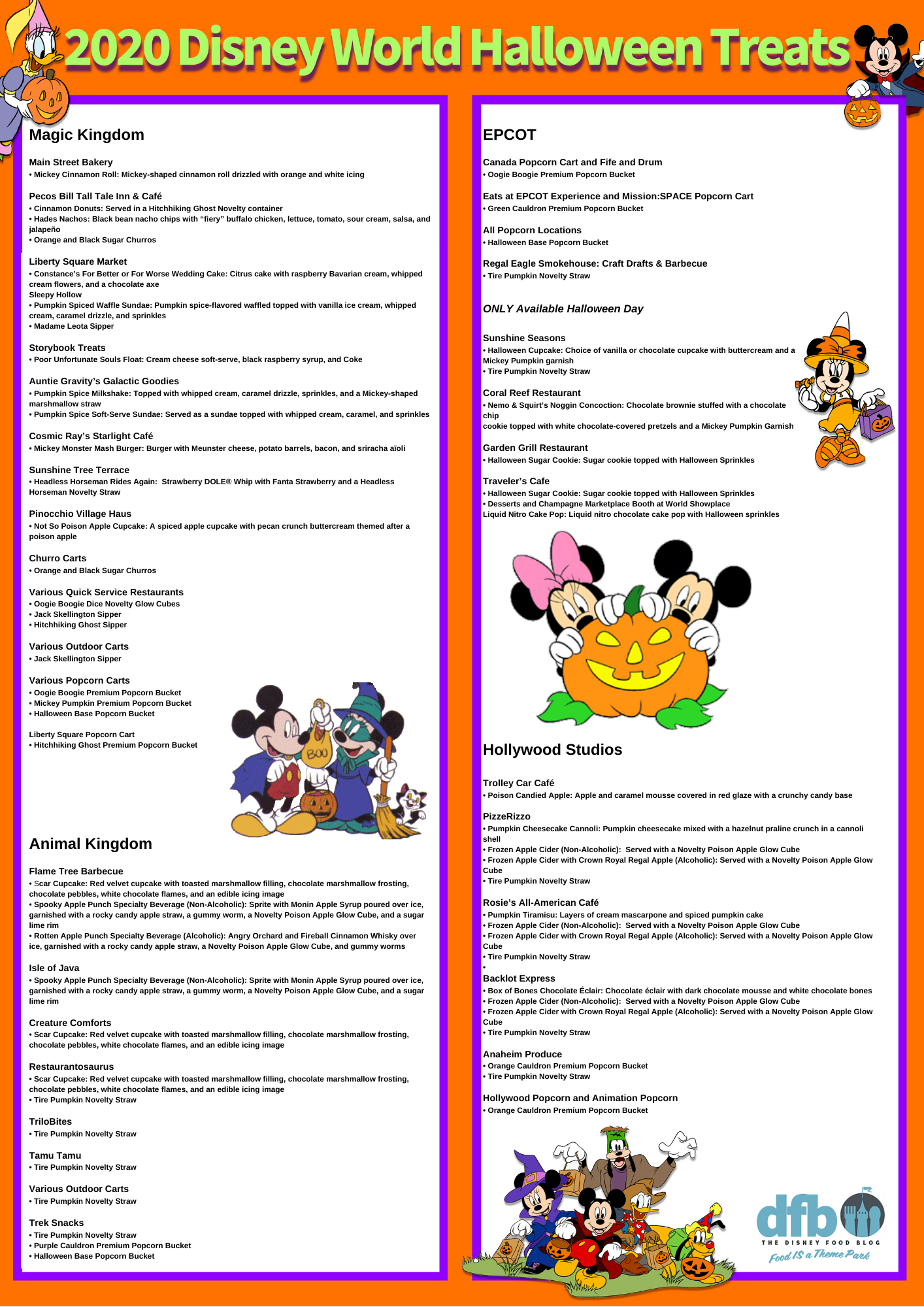 Disney Halloween Food Guide 2020 The DFB Exclusive Disney World Halloween SNACK Checklist Is Here