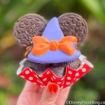 Photos! We're Bewitched By This Cookies & Cream Minnie Halloween Cupcake in Disney World!