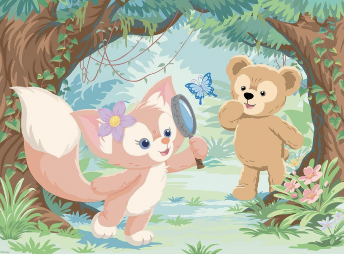 LinaBell and Duffy stand in the woods with a butterfly